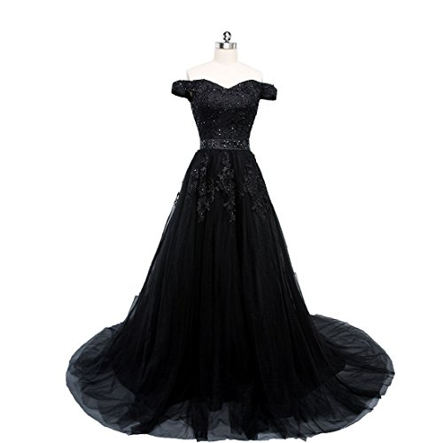 Beauty-Emily Evening Party Dresses Off Shoulder Sexy Sleeveless Sequined Simple Party Dress Black, Size US 20 Plus Size