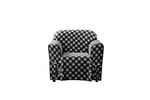Sure Fit SF46023 Buffalo Check 1Piece Chair Slipcover - Black,Chair