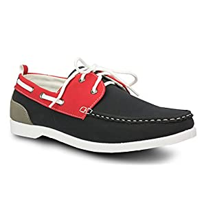 Influence Mens Caleb Faux Nubuck Leather Casual Boat Shoe, NAVY, Size 11
