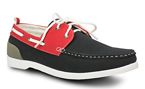 Influence Mens Caleb Faux Nubuck Leather Casual Boat Shoe, Navy, Size 12