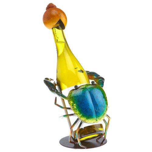 Deco Flair Blue Crab Figurine Metal Wine Bottle Holder by Deco Flair