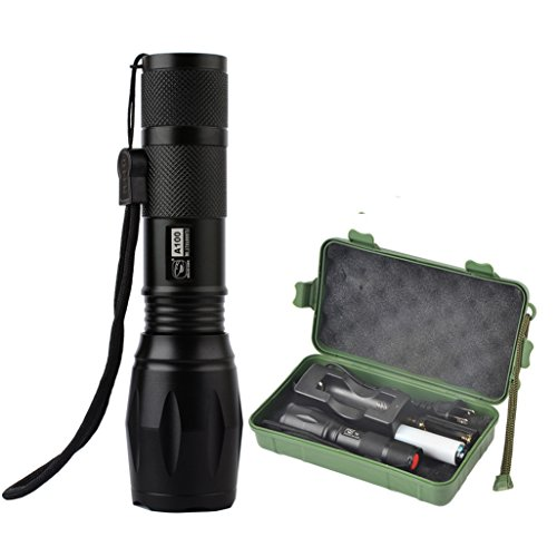 Smiling Shark SS-A100 1000 Lumens Adjustable Focus Zoomable Flashlight Torch, 5 Modes CREE XML-T6 LED Flashlights, Water Resistant Camping Light for Outdoor Sports, Black