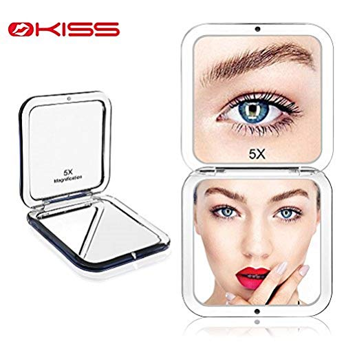 OKISS Compact Mirror- Elegant Travel Makeup Mirror & Compact Hand Mirror,Pocket Makeup Mirror with Powerful 5X Magnifying Makeup Mirror and 1x True View Mirror for Purses and Travel