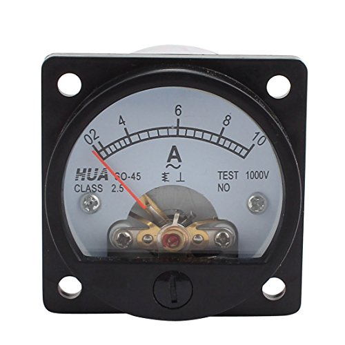 uxcell Class 2.5 Accuracy AC 0-10A Round Analog Panel Meter Ammeter Black