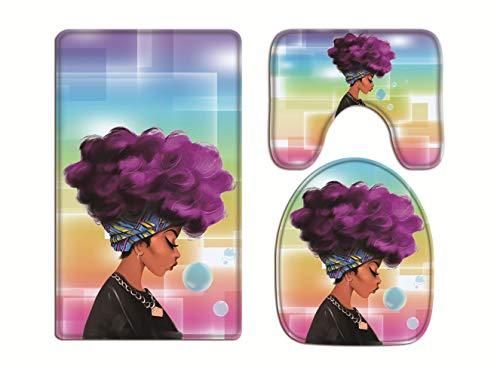 Ao blare Traditional Purple Hair African Black Women Bath Mat 3 Piece Set Soft Flannel Cloth Washable Toilet Seat Covers Toilet Lid Covers Cushions Pads Skidproof Bath Mat (Purple1)
