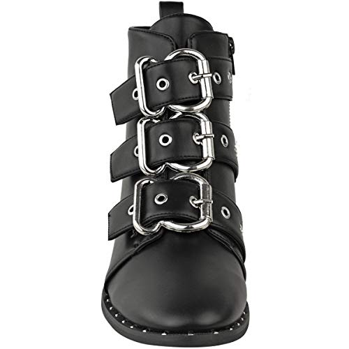 bb6d0948a43 Fashion Thirsty Womens Black Punk Biker Flat Ankle Boots Winter Strappy  Studded Ladies New Size by Heelberry®  Amazon.co.uk  Shoes   Bags