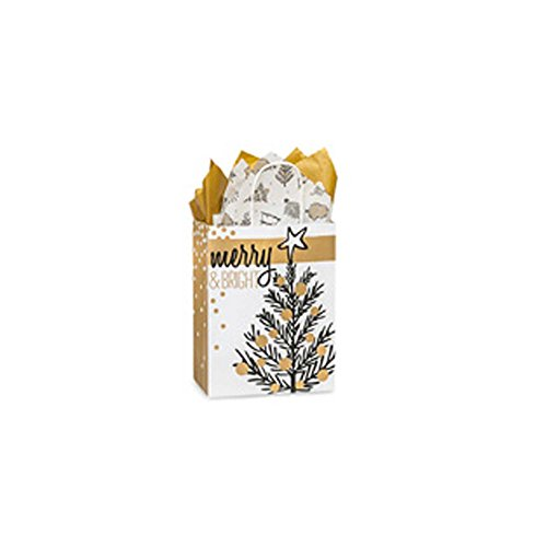 Creative Bag, Holiday Paper Shopping Bags, 8x4x10'', Golden Holiday Trees, 100ct, Merchandise, Retail, Party, Boutique, Gift, Bulk, Notion, Christmas, Holiday by Creative Bag