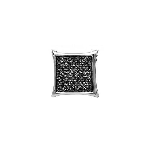 0.13 Carat (ctw) 14K White Gold Black Diamond Mens Hip Hop Kite Iced Micro Pave Stud Earring (1pc) by DazzlingRock Collection
