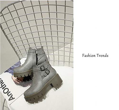 40 stivaletti Fashion 34 E Donna 43 Con Chelsea Stivali Da spesso Stivaletti grigio Ig Inverno Autunno wPZBnPFq