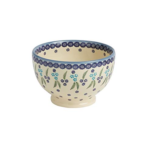 - Polish Pottery Floral Fern Handmade Ceramic Footed Bowl