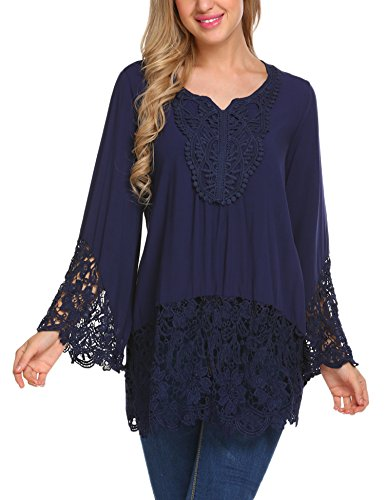Soteer Women's Flare Sleeve Lace Splice Loose Trim Casual Boho Floral Blouse Top Shirts Blue L