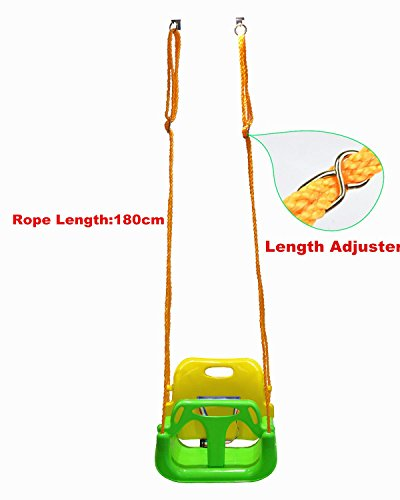 Fully Assembled Swingan High Back Full Bucket Toddler and Baby Swing with Vinyl Coated Chain Green