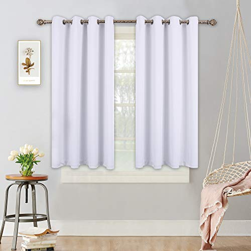 YGO Blackout Curtains Panels for Bedroom - Microfiber Noise Reducing Thermal Insulated Solid Ring Top Blackout Window Drapes (Two Panels, 52 x 45inches, White