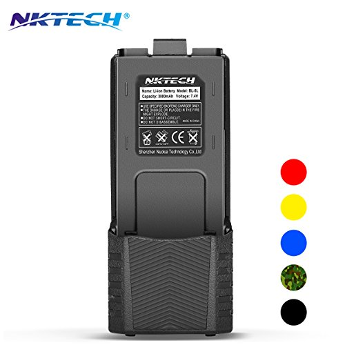 NKTECH BL-5L Extended 3800mAh 7.4V Li-ion Battery For BaoFeng Pofung UV-5R V2 DM-5R UV-5RA BF-F8HP BF-F9 V2+ UV-5R5 UV-5RE PLUS UV-5RTP Two Way Radio (2x 2100mAh Li-ion Polymer Batteries) 2100mah 3 Cell