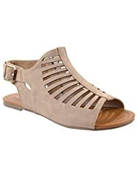 Soda Shoes Women's Bovino-S PU Leather Caged Gladiator Sandals with Zipper Closure