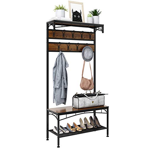3-in-1 Entryway Coat Rack, Rackaphile Vintage Metal and Wood Hall Tree with Storage Bench Shoe Rack Entryway Storage Shelf Organizer with 18 Hooks (Metal Table Foyer)