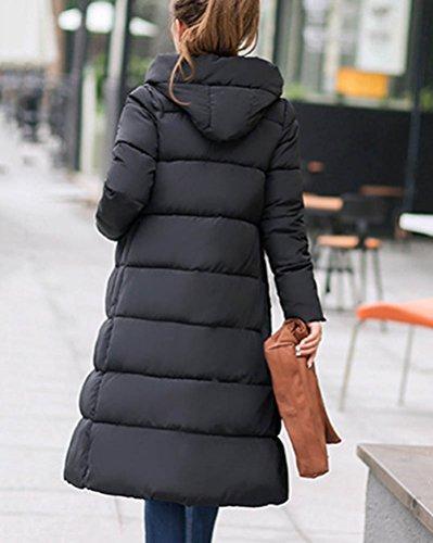 Con Lungo Outwear Calde Invernali Dianshao Giacche Cappuccio Cappotti Womens Riempito Nero Stampa wqnIU8zxH
