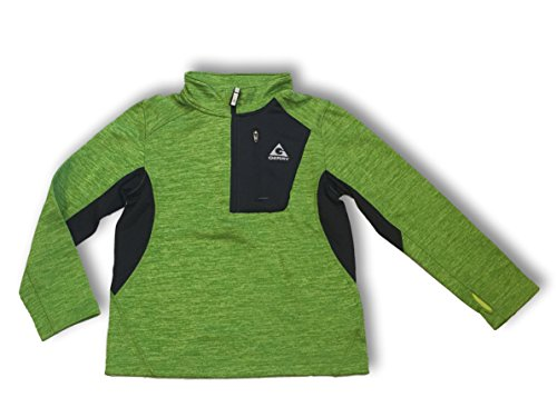 Gerry Kids Youth Boys Quarter Zip Lightweight Athletic Fleece Lined Sweatshirt Jacket (Medium (10/12), Algae Green Heather/Black)