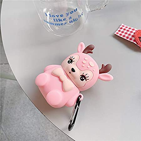 BONTOUJOUR AirPods Case Soft Silicone Earphone Protection Skin for AirPods1/&2+Hook Pink Super Cute Creative Christmas Theme Lovely Big Eyes Bow Sitting Deer Baby Design AirPods Case