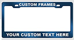 Customized Blue Anodized Aluminum License Plate Frame Laser Engraved