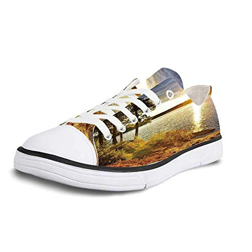 Canvas Sneaker Low Top Shoes,Landscape Sunset Dawn in The Forest Over Lake of Two Rivers Algonquin Park Ontario Canada Man 10