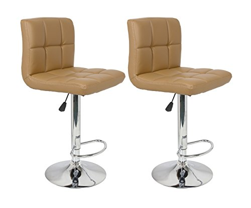 (Legacy Decor Set of 2 Barstools Adjustable Swivel Faux Leather Square Stitch Design Mocha Color)