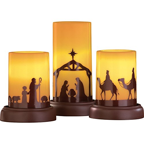LED Flameless Nativity Candles - Set of 3