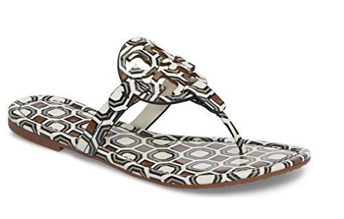 Tory Burch Miller Patent Leather Sandal (New Ivory Octagon Square) (8.5)