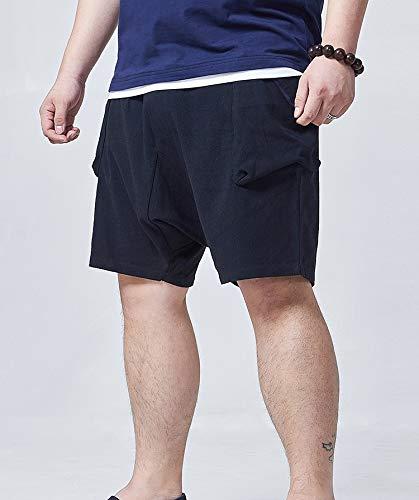 los algodón Hombres Cortos Pantalones de Pantalones Negro Negros STAZSX Lino Apparel Cinco y Sueltan de Pantalones Fwn8qIz
