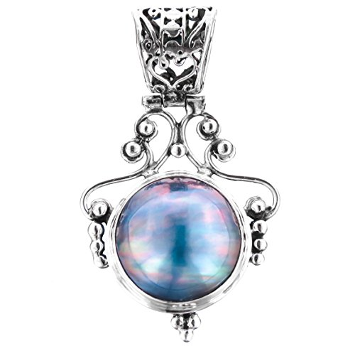 Blue Mabe Cultured Pearl 925 Sterling Silver Pendant, 1 9/16