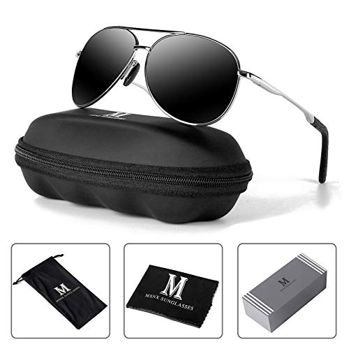 MXNX Aviator Sunglasses for Men Polarized Women UV Protection Lightweight Driving Fishing Sports Mens Sunglasses MX208-(Silver/Black Lens)