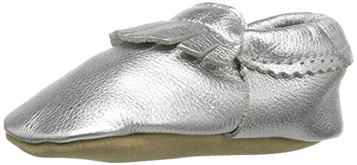 (Hanna Andersson Baby Bootie Moc Fringe Baby Moccasin, Silver, 4 M US Toddler)