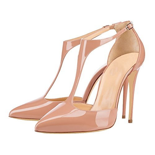 MERUMOTE Women Y-191 Pointed Toe Pumps Stilettos High Heels T-Strap With Buckle Patent Ladies Shoes Nude