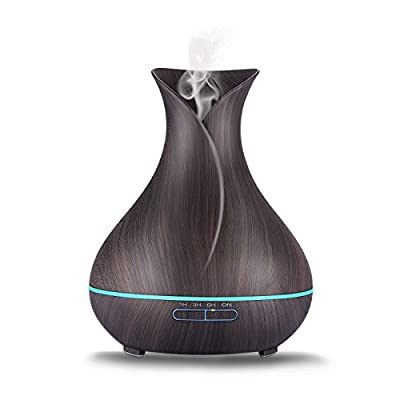 Aromatherapy Essential Oil Diffuser,400ml Wood Black Ultrasonic Cool Mist Humidifier Home Fragrance Diffuser