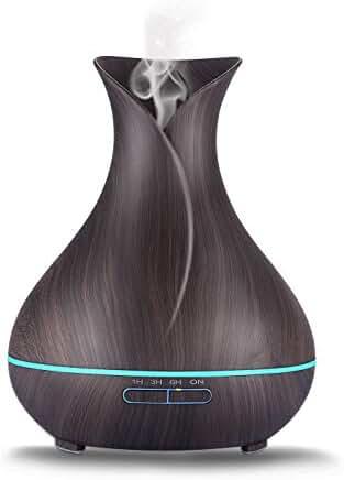 GREEVOO Essential Oil Diffuser 400ml,Ultrasonic Aroma Cool Mist Humidifier-Wood Black