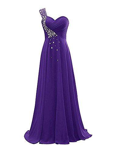 Tutu.Vivi Women's One Shoulder Bridesmaid Dresses Long Chiffon Crystals Prom Ball Gown Elegant ZJ082 by Tutu.Vivi