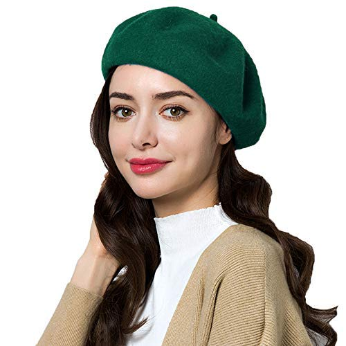 Exlura 95% Wool Beret Artist Hat French Hat Casual Solid Color Winter Hat for Women -