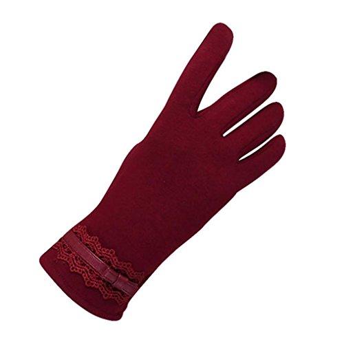 Guantes calientes para Mujeres,Ouneed ® Moda para mujer invierno guantes caliente al aire libre para la conducción deportiva Rojo