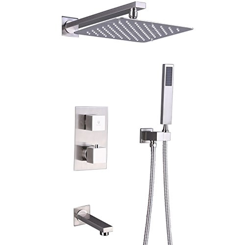 HIMK Shower System with High Pressure Rainfall Shower Head, Handheld Shower head and Shower Faucet valve with Tub Spout,Bathroom Luxury Rain Thermostatic Shower Combo Set Wall Mounted,Brushed Nickel