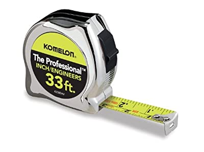 Komelon 433IEHV 33ft. x 1in. The Professional Tape Measure, Chrome by Komelon