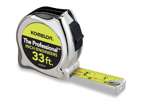 Price comparison product image Komelon 433IEHV High-Visibility Professional Tape Measure both Inch and Engineer Scale Printed 33-feet by 1-Inch,  Chrome