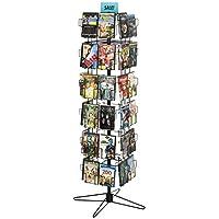 Displays2go Retail Display Rack Rotating CD/DVD Display Stand, Black Steel