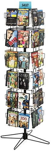 - Displays2go Retail Display Rack Rotating CD/DVD Display Stand, Black Steel