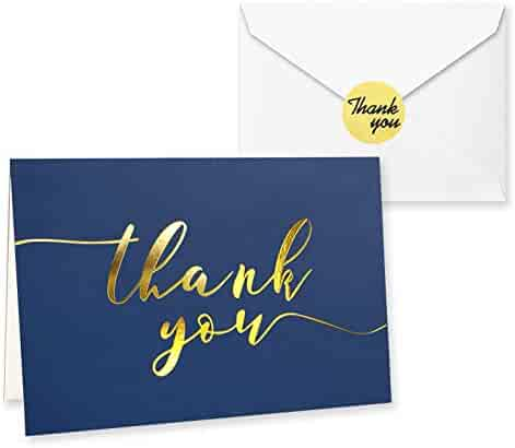 100 Thank You Cards in Navy Blue with Envelopes and Stickers - Bulk Notes Embossed with Gold Foil Letters for Weddings, Graduations, Engagements, Business, Formal, 4x6 Inch