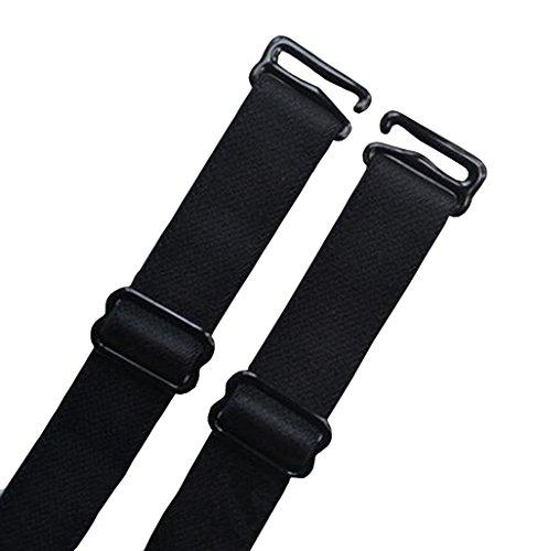 Bra Black Straps - 2 Pairs Black Removable Adjustable Replacement Bra Straps (1.5cm/0.59