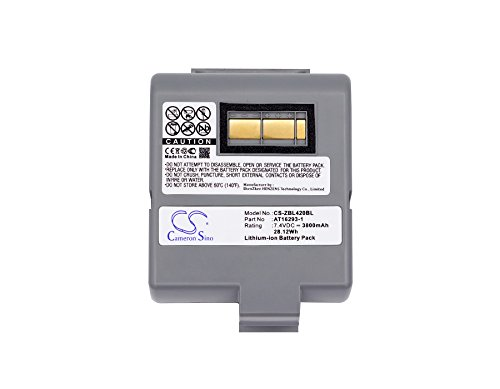 KML Battery for Zebra QL420 QL420+ QL420 Plus, Li-ion 7.40V 3800mAh / 28.12Wh (Zebra Ql420 Battery)