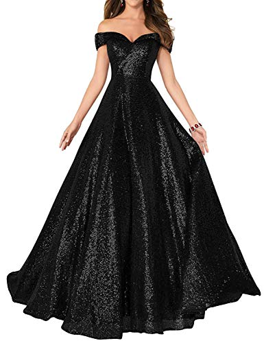 Women's Long Off Shoulder Prom Dress Sparkly Sequins Evening Party Ball Gown 140 Black US20
