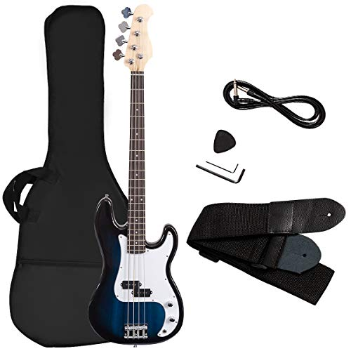 Stock Guitar Case Cover - Goplus Electric Bass Guitar Full Size 4 String with Strap Guitar Bag Amp Cord (Blue Bass 4 Straps)