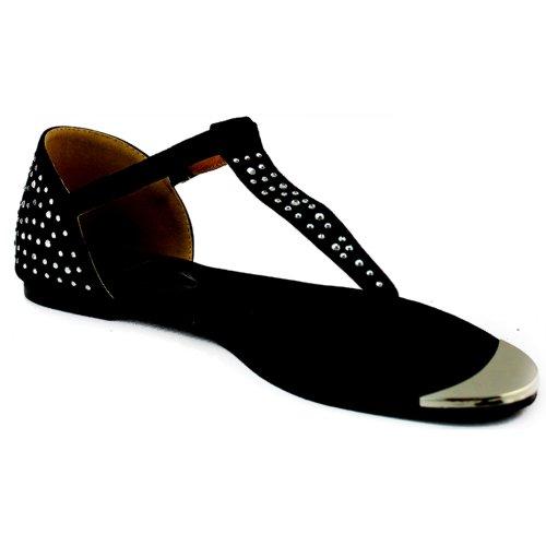 Marque De Femmes & Maddux Famke-01 T Thong Décontracté Appartements Sandales Chaussures De Mode Noir Sv