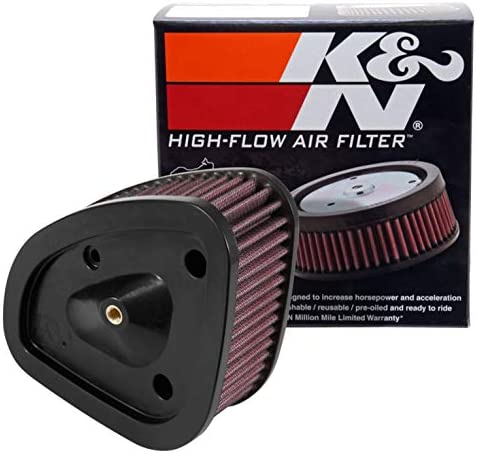 K&N Engine Air Filter: High Performance, Premium, Powersport Air Filter: 2017-2019 HARLEY DAVIDSON (Road King, Electra Glide, Ultra, Classic, Tri Glide, Limited, Low & different fashions) HD-1717, Black